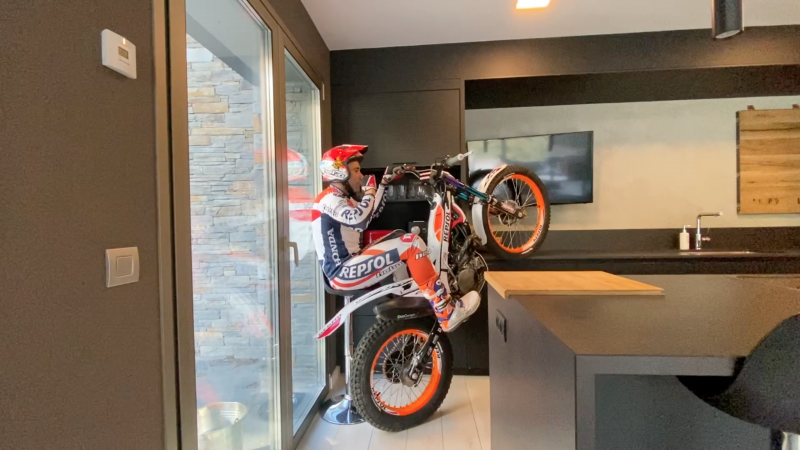 Toni Bou, world champion, at home